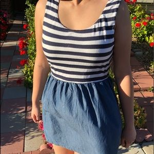 a5f06a52189e Other - Navy Blue and White Stripes Mini Dress in Medium
